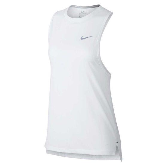 Nike Womens Tailwind Running Tank, White / Silver, rebel_hi-res