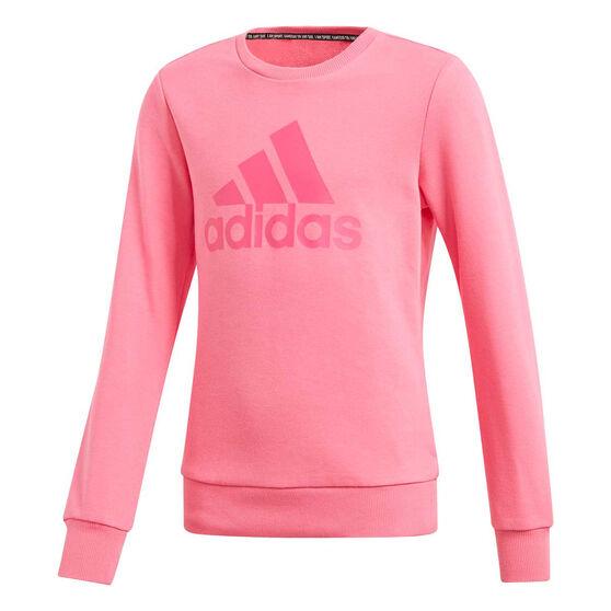 adidas Girls Must Haves Badge of Sport Sweatshirt, Pink, rebel_hi-res