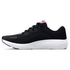 Under Armour Charged Pursuit 2 Kids Running Shoes Black/White US 4, Black/White, rebel_hi-res