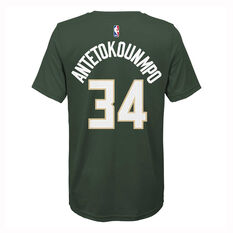Nike Milwaukee Bucks Giannis Antetokounmpo 2019/20 Kids Icon Edition Tee Green S, Green, rebel_hi-res