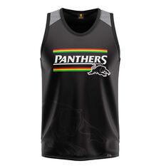 Penrith Panthers Mens Watermark Performance Singlet Black S, Black, rebel_hi-res