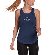 adidas Womens Run For The Oceans Graphic Tank Navy XS, Navy, rebel_hi-res