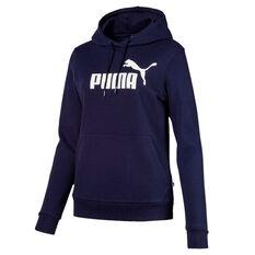 Puma Womens Essentials Fleece Logo Hoodie Blue XS, Blue, rebel_hi-res