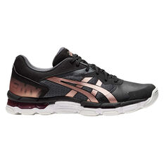 Asics GEL Netburner Academy 8 Womens Netball Shoes Black / Rose Gold US 6, Black / Rose Gold, rebel_hi-res