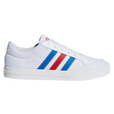 adidas VS Set Mens Casual Shoes White / Blue US 7, White / Blue, rebel_hi-res