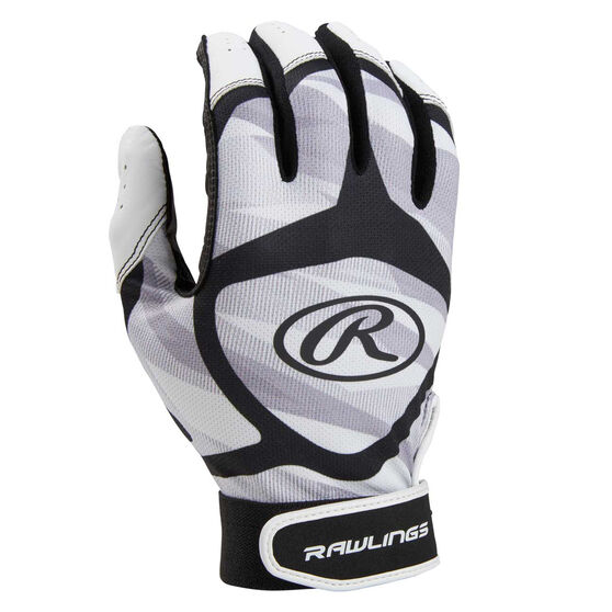 Rawlings Youth Baseball Batting Gloves, Grey / Black, rebel_hi-res