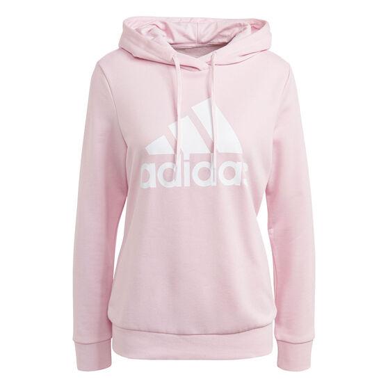 adidas Womens Big Logo Fleece Hoodie, Pink, rebel_hi-res