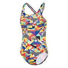 Speedo Girls Printed Leaderback Swimsuit Print 8 Junior, Print, rebel_hi-res
