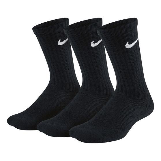 Nike Kids Performance Cushioned Crew Training Socks, Black, rebel_hi-res