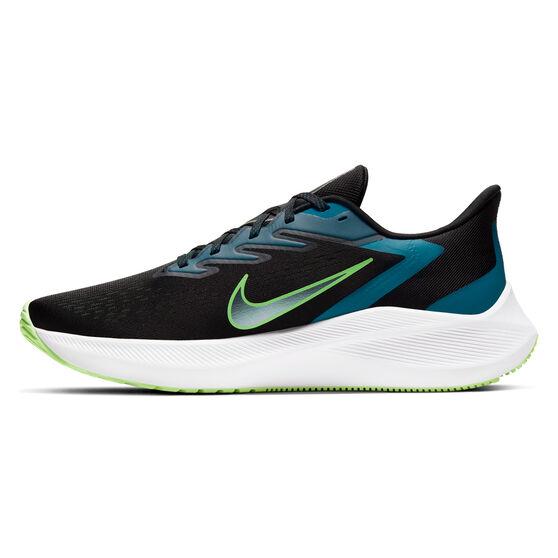 Nike Zoom Winflo 7 Mens Running Shoes, Black/Green, rebel_hi-res