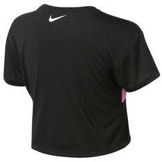 Nike Girls Swoosh Crop Tee Black / Pink 4, Black / Pink, rebel_hi-res