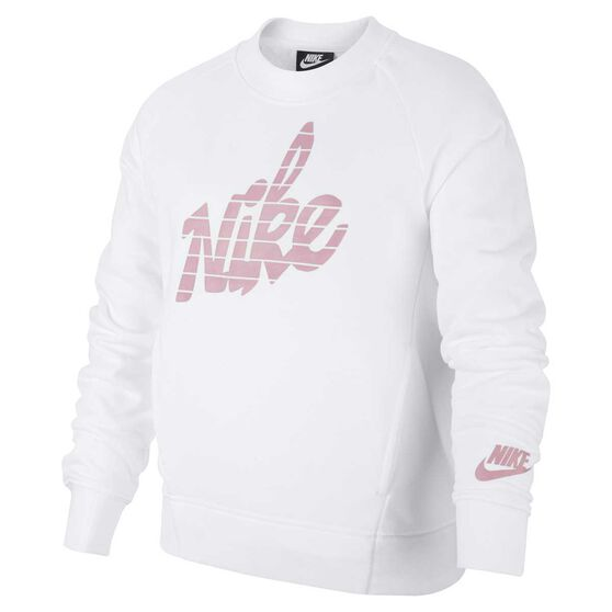 Nike Girls Sportswear Sweatshirt, White / Pink, rebel_hi-res