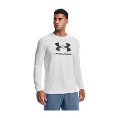 Under Armour Mens Sportstyle Long Sleeve Tee, White, rebel_hi-res