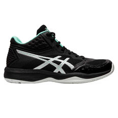 Asics GEL Netburner Ballistic FF MT Womens Netball Shoes Black / Silver US 6, Black / Silver, rebel_hi-res