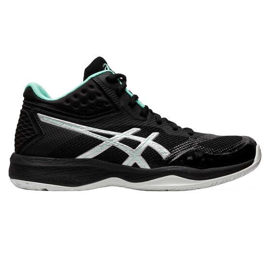 Asics GEL Netburner Ballistic FF MT Womens Netball Shoes, Black / Silver, rebel_hi-res