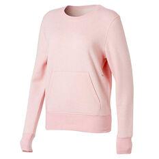 Ell & Voo Womens Harper Fleece Crew Sweatshirt Pink XS, Pink, rebel_hi-res