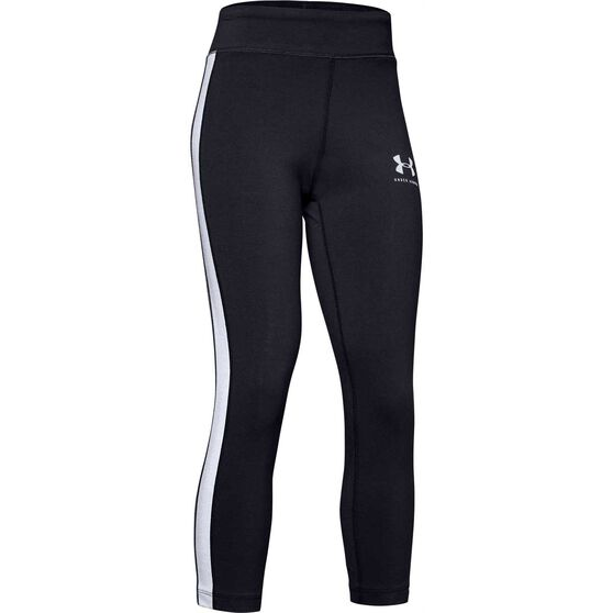Under Armour Girls Sportstyle Taped Cropped Pants, Black / White, rebel_hi-res