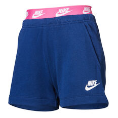 Nike Girls French Terry Shorts Blue 4, Blue, rebel_hi-res