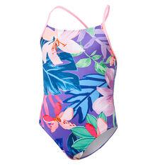 Tahwalhi Girls Hyper Floral One Piece Swimsuit Purple 8, Purple, rebel_hi-res