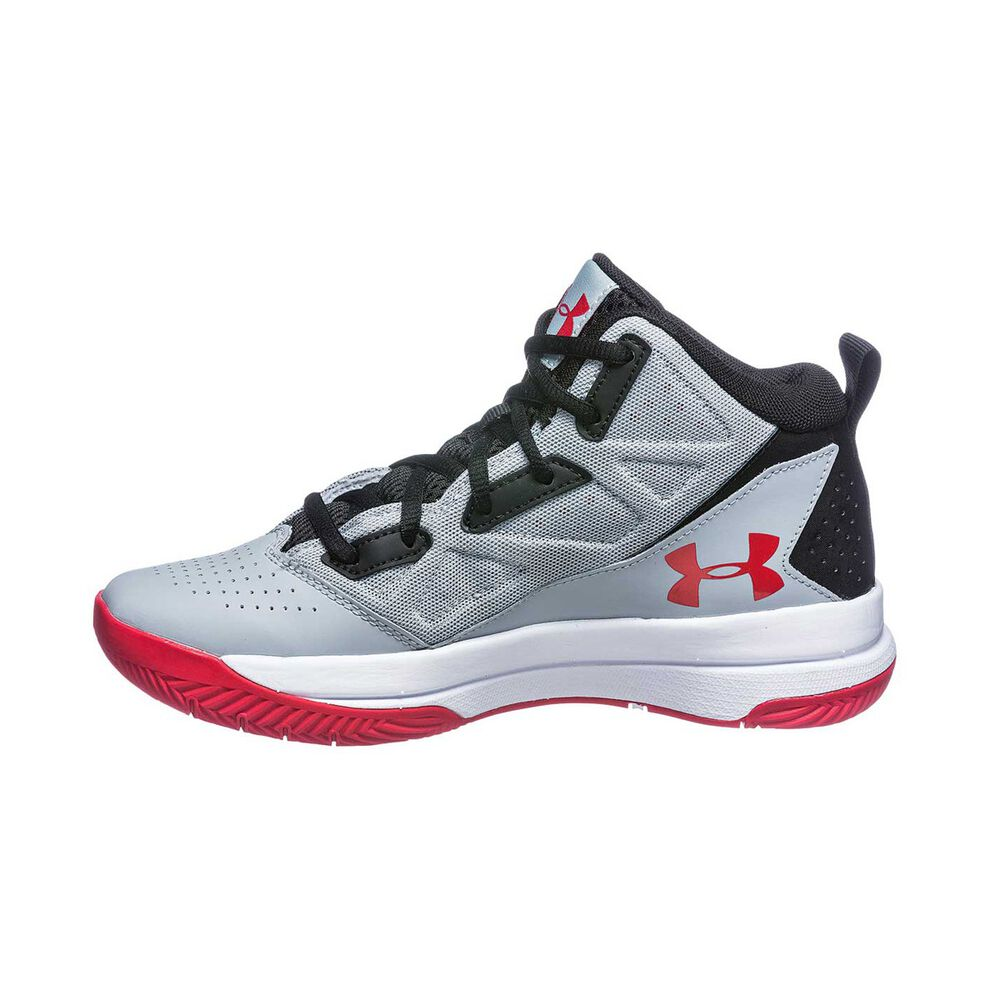 Under Armour Jet Mid Boys Basketball Shoes Grey   White US 4  73fb49531df6