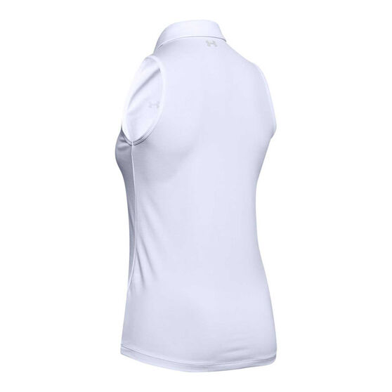 Under Armour Womens Zinger Sleeveless Polo, White, rebel_hi-res
