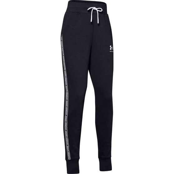 Under Armour Girls Sportstyle Fleece Pants, Black / White, rebel_hi-res