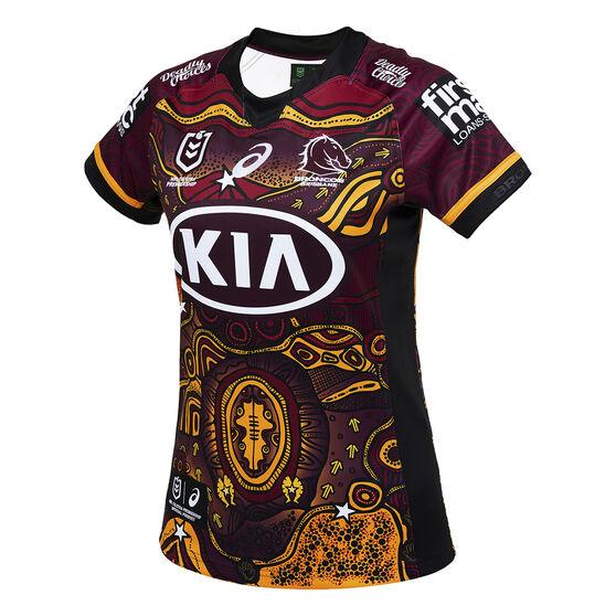 Brisbane Broncos 2021 Womens Indigenous Jersey, Maroon, rebel_hi-res