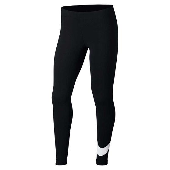 Nike Girls Sportswear Favorites Swoosh Tights, Black/White, rebel_hi-res