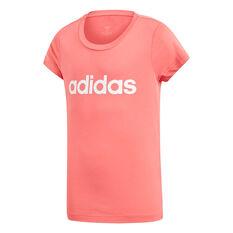 adidas Girls Essentials Linear Tee Pink / White 4, Pink / White, rebel_hi-res