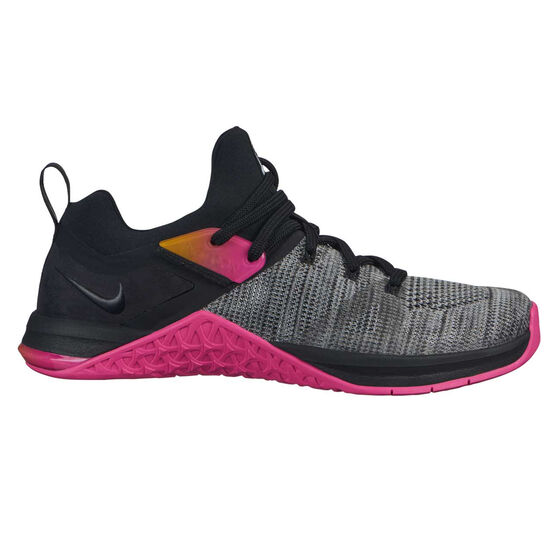Nike Metcon Flyknit 3 Womens Training Shoes, Black / Pink, rebel_hi-res