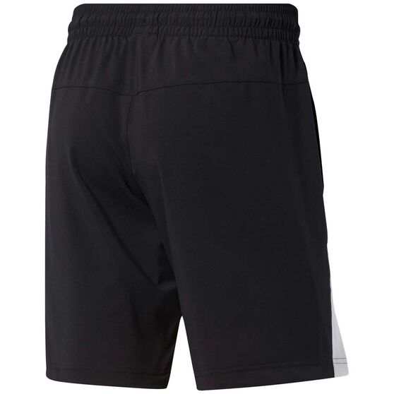 Reebok Mens Workout Ready Woven Graphic Shorts, Black, rebel_hi-res