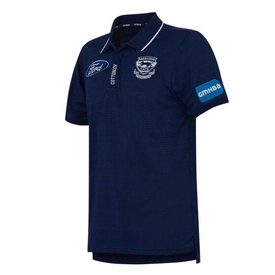 Geelong Cats 2021 Mens Media Polo, Blue, rebel_hi-res