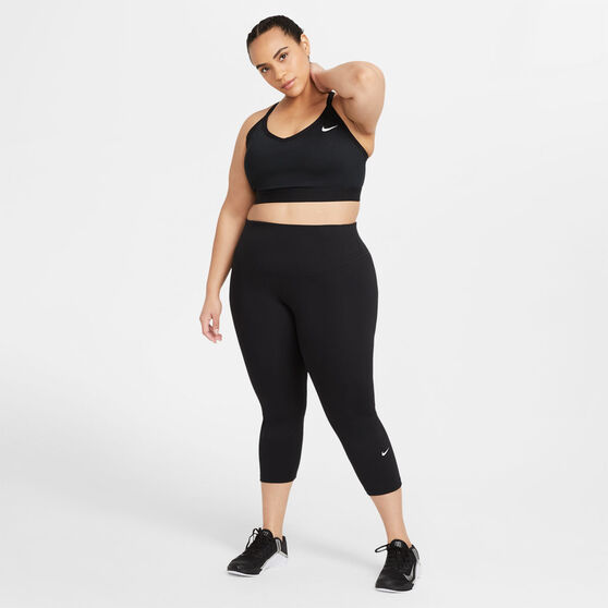 Nike One Womens Mid-Rise Crop Tights Plus, Black, rebel_hi-res