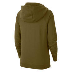 Nike Womens Sportswear Essentials Funnel Neck Fleece Hoodie Olive XS, Olive, rebel_hi-res