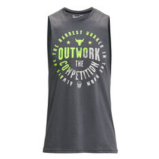 Under Armour Mens Project Rock Outwork Tank Grey S, Grey, rebel_hi-res