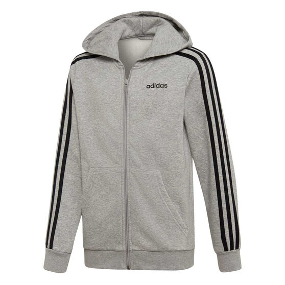adidas Boys Essentials 3 Stripes Full Zip Hoodie, Grey / Black, rebel_hi-res