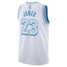Nike Los Angeles Lakers LeBron James 2020/21 Mens City Swingman Jersey White S, White, rebel_hi-res