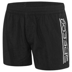 Speedo Mens Shortie Logo Board Shorts Black / White S, , rebel_hi-res