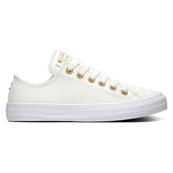 Converse Chuck Taylor All Star Ox Womens Casual Shoes, White/Gold, rebel_hi-res
