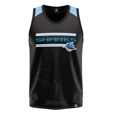 Cronulla-Sutherland Sharks Watermark Performance Singlet Blue S, , rebel_hi-res