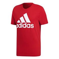 adidas Mens Essentials Linear Tee Scarlet S, Scarlet, rebel_hi-res