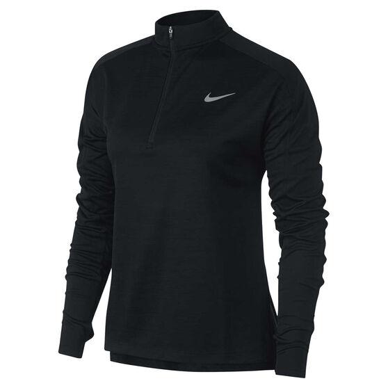 Nike Womens Pacer 1 / 2 Zip Long Sleeve Top, Black, rebel_hi-res