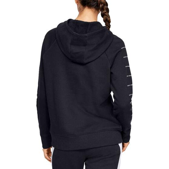 Under Armour Womens Rival Fleece Full Zip Graphic Hoodie Black XS, Black, rebel_hi-res