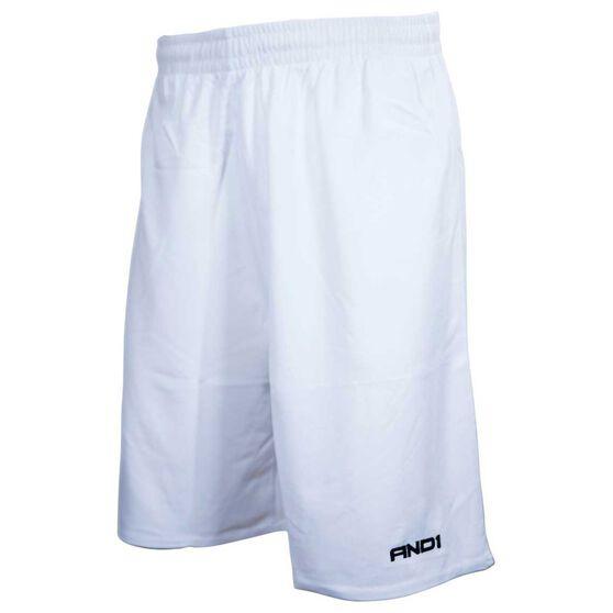 AND1 Mens No Sweat Shorts, White, rebel_hi-res