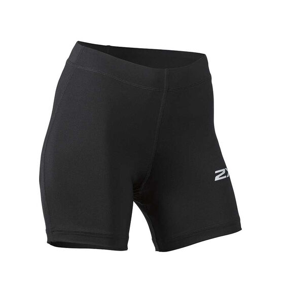 2XU Womens Aspire 5in Compression Shorts, Black / Silver, rebel_hi-res