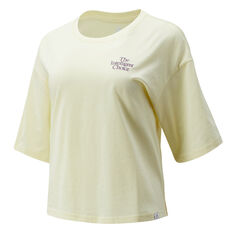 New Balance Womens Athletics Intelligent Choice Tee Yellow XS, Yellow, rebel_hi-res