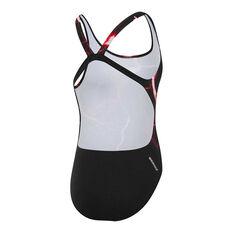Speedo Girls School Colours Leaderback Swimsuit Red 6, Red, rebel_hi-res