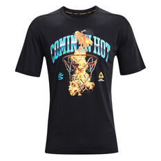 Under Armour Mens Curry Coming In Hot Tee Black S, Black, rebel_hi-res