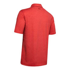 Under Armour Mens Charged Cotton Scramble Polo Shirt, Red, rebel_hi-res