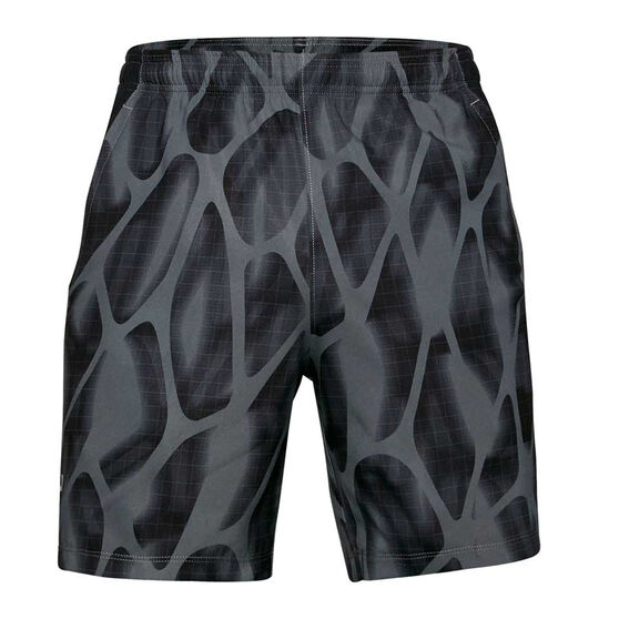 Under Armour Mens Launch 7in Printed Shorts, Grey, rebel_hi-res